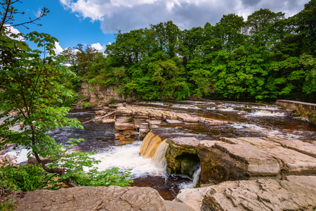 Richmond Falls at low water, at the market town of Richmond which is sited at the very edge of the North Yorkshire Dales, on the banks of River Swale