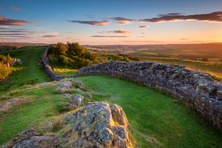 Hadrians Wall near sunset at Walltown, which is a World Heritage Site in the beautiful Northumberland National Park. Popular with walkers along the Hadrians Wall Path and Pennine Way Stock Photo