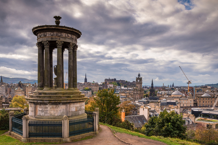 Dugald Stewart Monument on Calton Hill, in central Edinburgh, which offers great views of the city skyline and has several iconic monuments