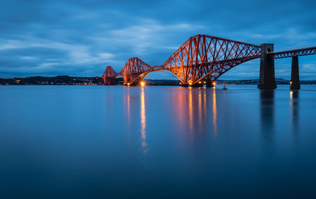 northern light: Forth Railway Bridge at Night, which is a cantilever railway bridge across the Firth of Forth in Scotland, west of Edinburgh City Centre