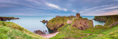 Dunnottar Castle Panorama, a ruined medieval fortress located upon a rocky headland on the north east coast of Scotland, near Stonehaven