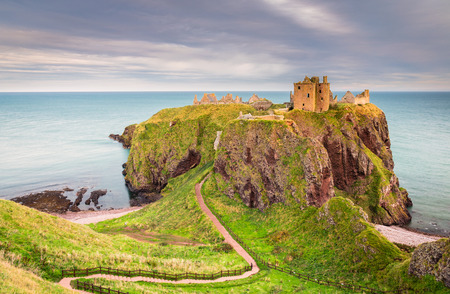 Dunnottar Castle Headland, a ruined medieval fortress located upon a rocky headland on the north east coast of Scotland, near Stonehaven