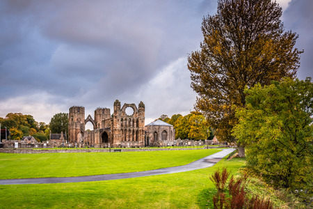 Elgin Cathedral in Autumn, which is a  medieval ruin and was built on the banks of the River Lossie in the thirteenth century Stock Photo