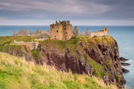 Ruined Dunnottar Castle, is a medieval fortress located upon a rocky headland on the north east coast of Scotland, near Stonehaven
