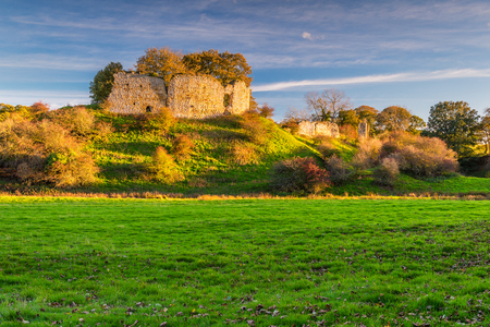 Mitford Castle beside River Wansbeck, in ruins now was built on a small hill overlooking the River Wansbeck