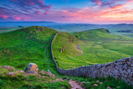 Twilight at Hadrian's Wall Caw Gap in the beautiful Northumberland National Park. Popular with walkers along the Hadrian's Wall Path and Pennine Way