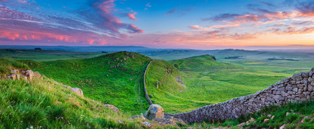 Twilight Panorama at Hadrian's Wall in the beautiful Northumberland National Park. Popular with walkers along the Hadrian's Wall Path and Pennine Way