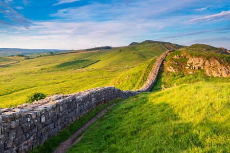 Roman Wall near Caw Gap in the beautiful Northumberland National Park. Popular with walkers along the Hadrian's Wall Path and Pennine Way