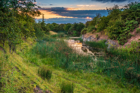 Nature Reserve at Disused Littlemill Quarry, which was a limestone quarry in Northumberland near Howick, also called Evelyn Howick Memorial Reserve Stock Photo