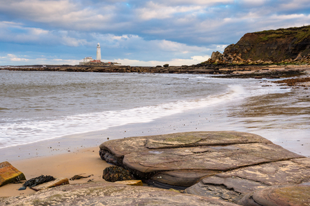 St Mary's Lighthouse Cliffs, taken right at the border of Northumberland and North Tyneside on the North East of England coastline Stock Photo