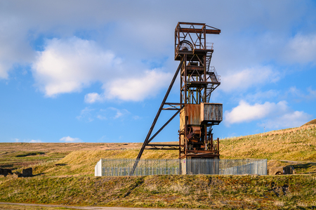 Grove Rake Lead Mine Headgear, the remains of the mine are near Rookhope in Weardale, County Durham, the last remaining headgear in the North Pennines orefield