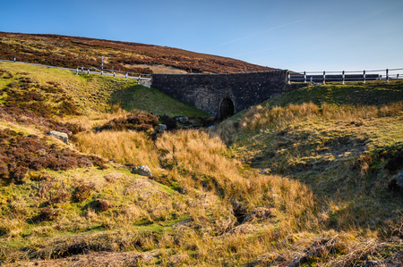 Road Bridge over Burnhope Burn in the North Pennines, AONB a landscape of high, heather covered moorland in the North of England