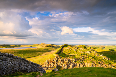 Hadrian's Wall and Broomlee Lough, a popular with walkers along the Hadrian's Wall Path and Pennine Way