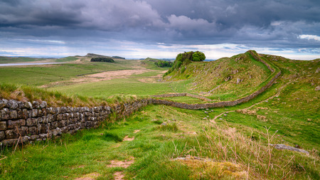 Rain Clouds over Hadrian's Wall, a popular with walkers along the Hadrian's Wall Path and Pennine Way