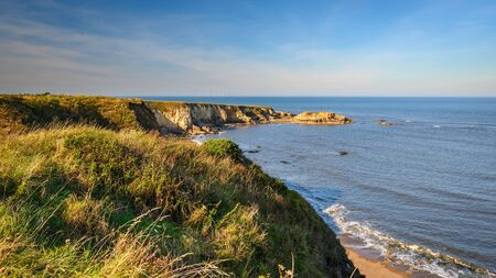 Clifftop View at Marsden Bay, located near South Shields, consisting of a sandy beach enclosed by Magnesian Limestone Cliffs and sea stacks