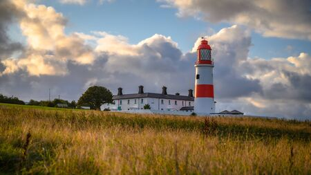 Souter Lighthouse on South Tyneside coastline, at Lizard Point above the Magnesian Limestone Cliffs Stock Photo