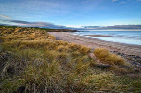 Cocklawburn Beach from the Dunes, a rural beach within Northumberland Coast Area of Outstanding Natural Beauty (AONB), located just south of Berwick-upon-Tweed and is popular with families and dog walkers Stock Photo