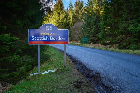 A few miles North West of Kielder in Northumberland at Deadwater is an Anglo-Scottish Border marked with signs