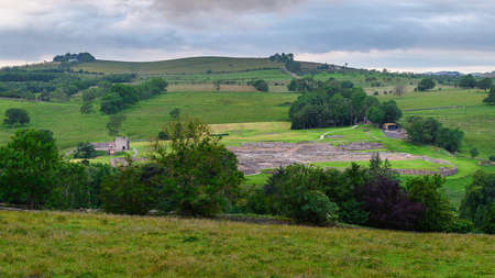 Remains of Vindolanda Roman Fort, an important Roman archaeological site, located just south of Hadrian's Wall in Northumberland National Park Stock Photo