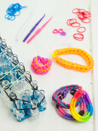 braclets: band loom with croche hooks, loom bands and braclets