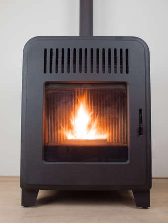 a modern domestic pellet stove with a burning flame Foto de archivo