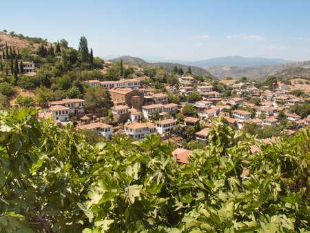 feigenbaum: Aussicht auf die t�rkische Dorf Sirince in Izmir Provinz mit Feigenbaum in Forground Lizenzfreie Bilder