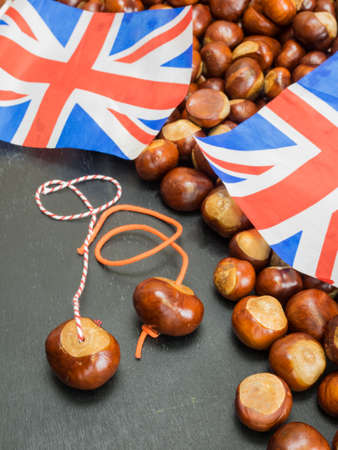 conkers: horse chestnuts  strung for a game of conkers with conkers and british flag behind