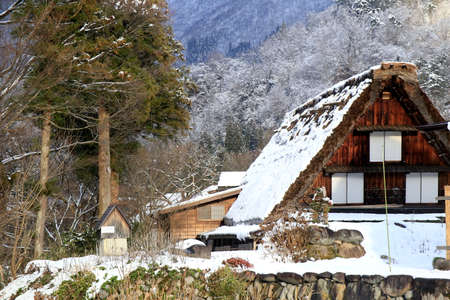 gassho zukuri: A Gassho-zukuri farmhouse nestled in the trees.