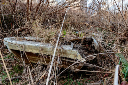 An abandoned Japanese skiff boat lays forgotten in the weeds alongside the Sagami River near Ebina, Kangawa Prefecture, Japan.