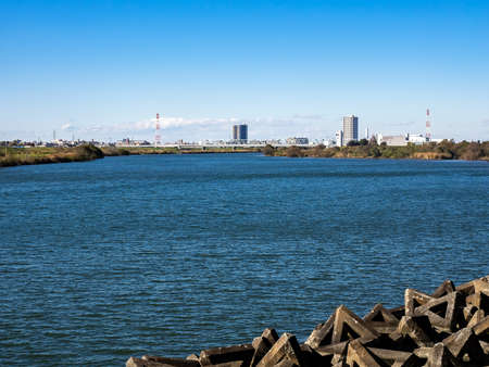 Looking across the Edo River (edogawa - 江戸川) into Tokyo