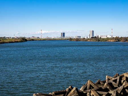 Looking across the Edo River (edogawa - 江戸川) into Tokyo