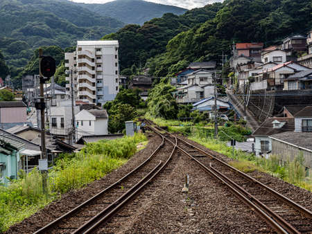 Looking up the Matsuura line from the Kita-Sasebo station platform. The Matsuura line is a small, local countryside commuter line in Nagasaki Prefecture.