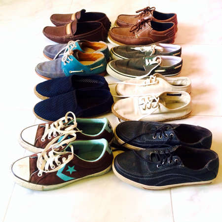 Different types of shoes. Stock Photo