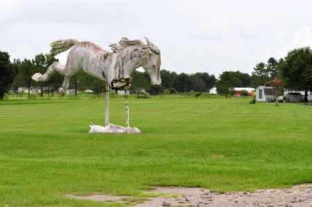 chacra: estatua del caballo blanco en campo cerca de Ranch