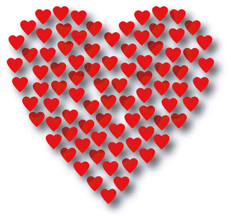small hearts: Scaleable red hearts with drop shadow