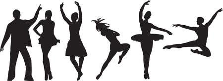 Vector silhouet van dansers Stock Illustratie