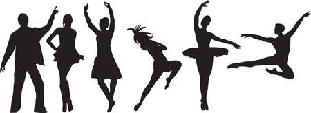 ballet dancing: Vector silhouette di ballerini