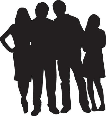four friends: vector silhouette of four friends