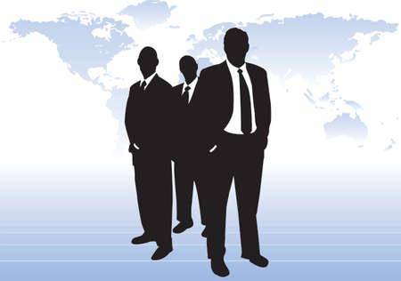 3 silhouet ondernemers ten overstaan van de wereld kaart. Een permanent ten overstaan van de andere twee handen in zakken. Maat toewijzing achter zich. Mogelijk wereldleiders, koopvaardij bankiers of CEO van grote ondernemingen.