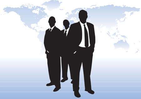 could: 3 silhouette businessmen in front of world map. One standing in front of other two, hands in pockets. Graduated map behind them. Could be world leaders, merchant bankers or CEOs of major corporation.   Illustration