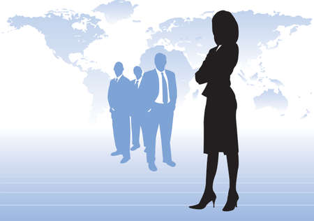 businesswoman skirt: Powerful business woman with arms folded wearing skirt and heels with 3 male members of staff in the background all stood in front of a world map. All elements grouped as separate items. Illustration
