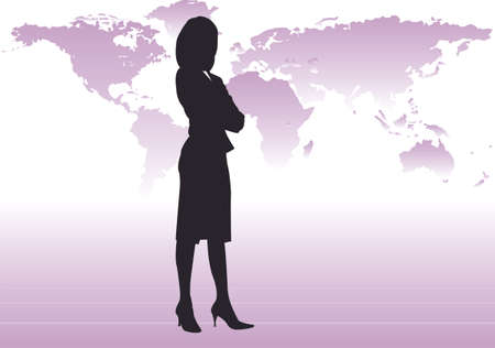 businesswoman skirt: Powerful business woman with arms folded wearing skirt and heels stood in front of a world map. All elements grouped as separate items. Illustration