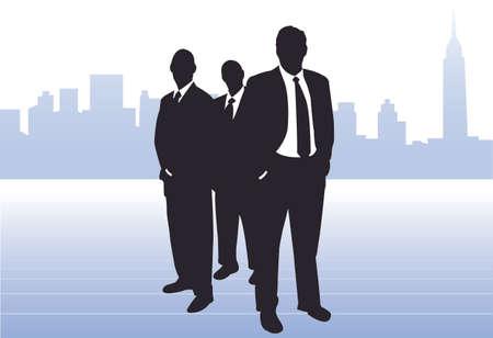 them: 3 imprenditori di fronte silhouette della citt� di New York skyline. Uno di fronte degli altri due, mani in tasca. Laureato mappa dietro di loro. Potrebbe essere leader del mondo, banchieri o commerciante CEO di grandi societ�. Vettoriali