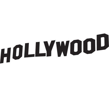 Hollywood sign lettering in vector black
