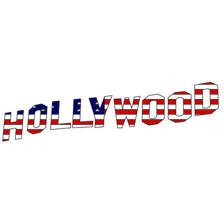hollywood   california: Hollywood sign lettering in vector stars and stripes Illustration