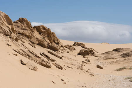 Moroccan desert scene with blue sky