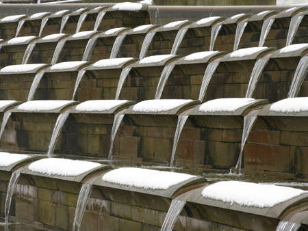water feature: Water feature in the snow Stock Photo