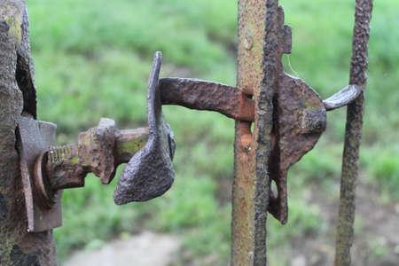 Rusty metal gate latch