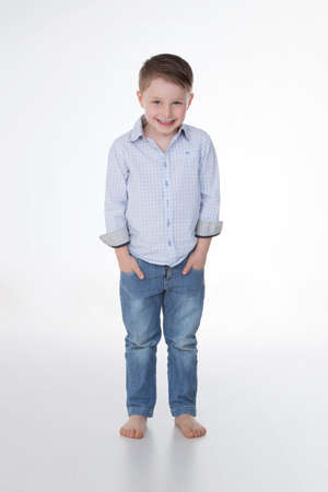 squared: happy child with squared shirt and jeans