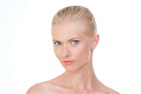 blond woman with sensually gaze
